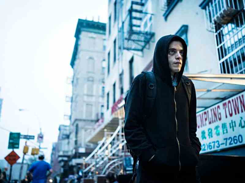 Rami Malek as the protagonist of Mr. Robot, Elliot Alderson.