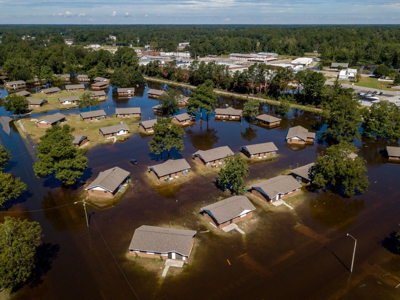 Hurricane Florence floods homes in North Carolina.