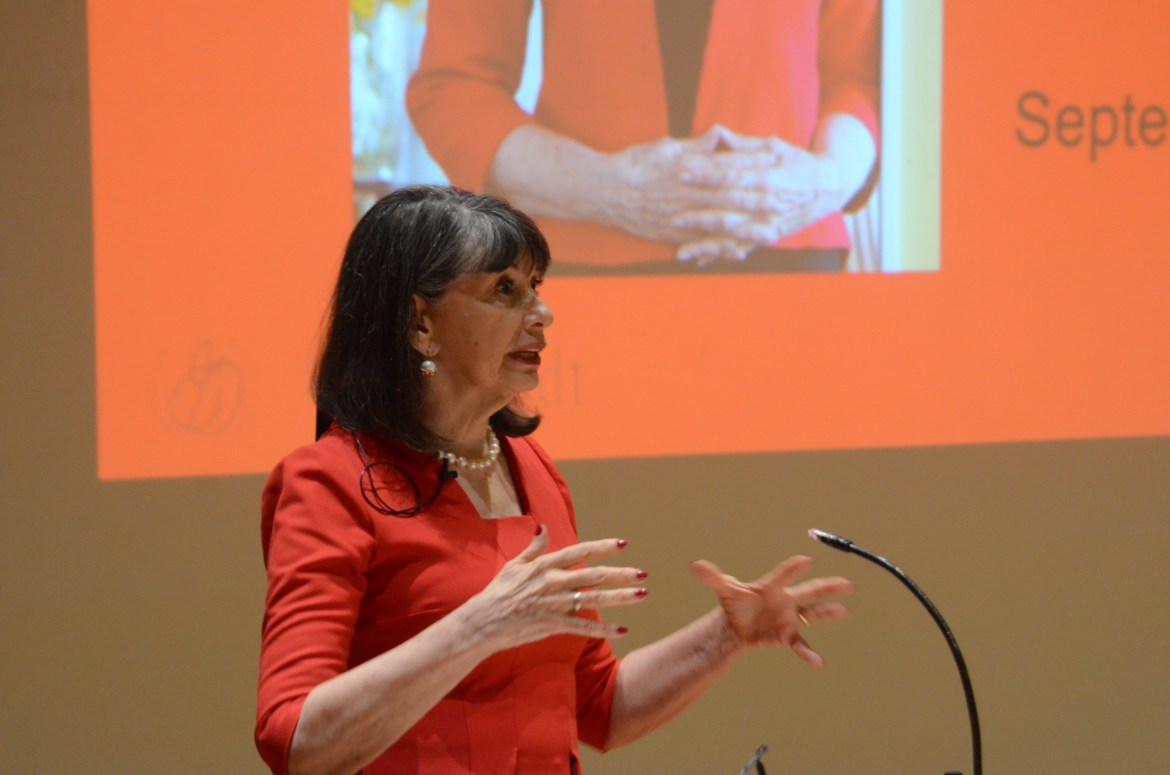 In an event sponsored by Cornell Hillel, former Planned Parenthood President Gloria Feldt speaks about gender equality in Goldwin Smith Hall.