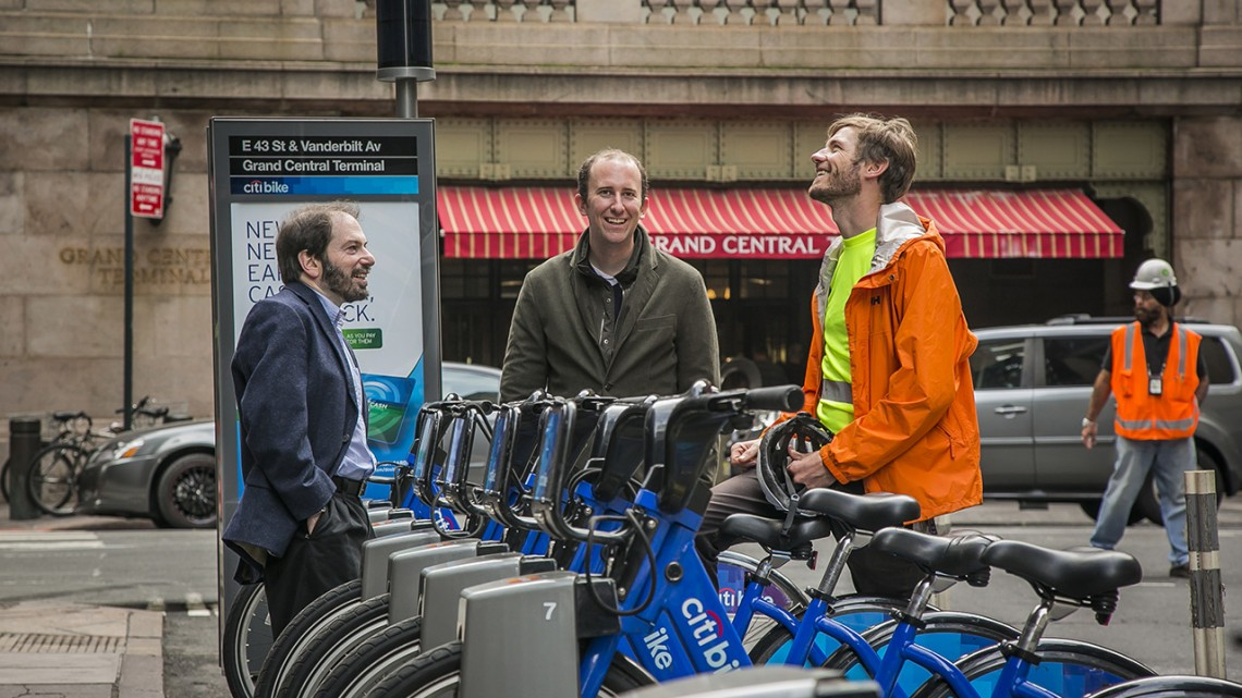 Prof. David Shmoys and Eoin O'Mahony Ph.D. '18 at a Manhattan Citi Bike station. Both researchers focus on improving the Citi Bike program.