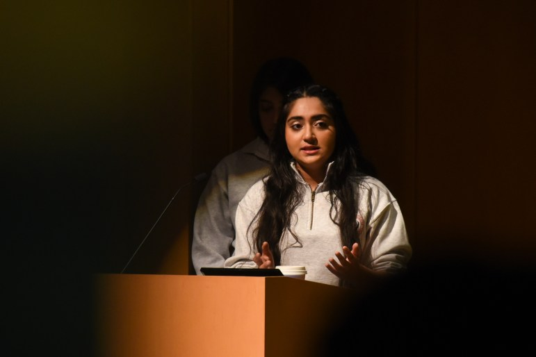 "Sukhmani Kaur '21, president of the Cornell Sikh Students Association, speaks at the the ""Candle Night Gathering for Storytelling and Solidarity"" event on Wednesday. The gathering gave minority organizations on campus the opportunity to share their stories and the challenges they face through a variety of performances. (Alice Song / Sun Staff Photographer)"