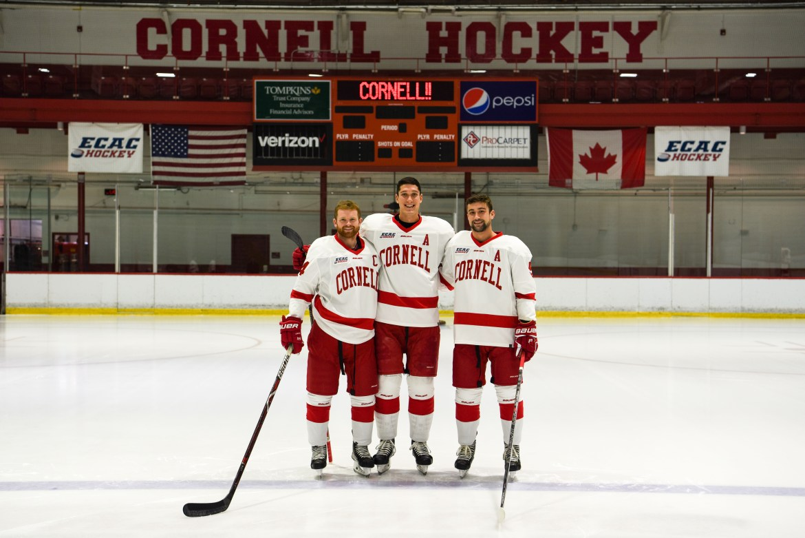 From left, forward and captain Mitch Vanderlaan and defensemen and alternate captains Alec McCrea and Matt Nuttle will lead Cornell this season.