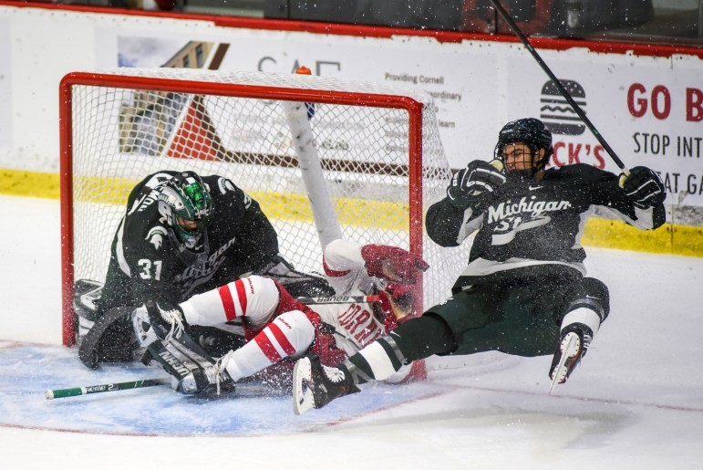 Cornell outshot Michigan State, 34-22, but could not get it done offensively in the opener.