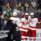 Junior defensmean Yanni Kaldis celebrates with his teammates in Saturday's loss to Michigan State. There wasn't much for Cornell to cheer for this weekend.