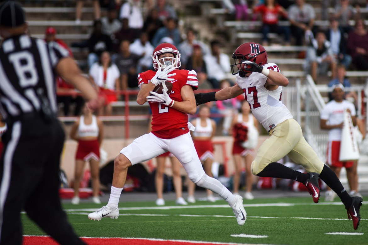 Junior wide receiver Owen Peters hauls in the game-winning touchdown throw from senior quarterback Dalton Banks — a 33-yard strike — and one of five receptions for Peters that totaled 112 yards.
