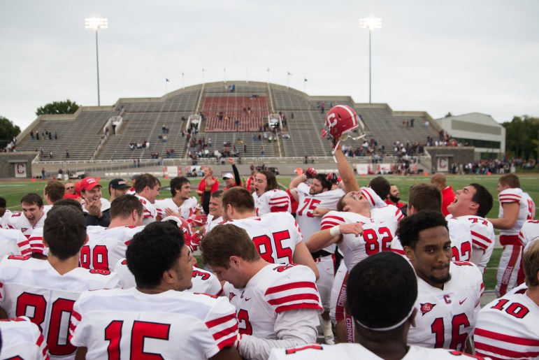 Cornell football celebrates its shocking win over Colgate two years ago. For the first time since 'The Comeback,' Cornell returns to Hamilton this weekend.