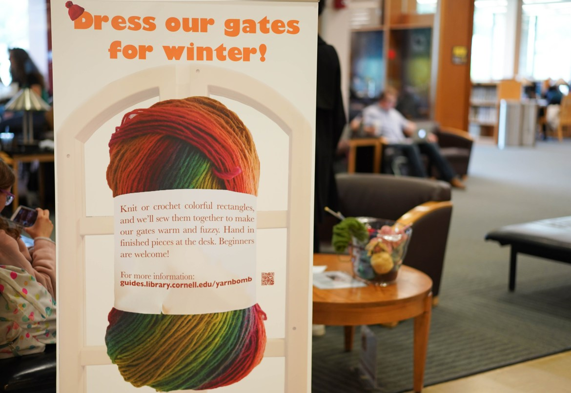 Librarians have put out supplies for students to knit, crochet and destress in a project to decorate the entryway gates.