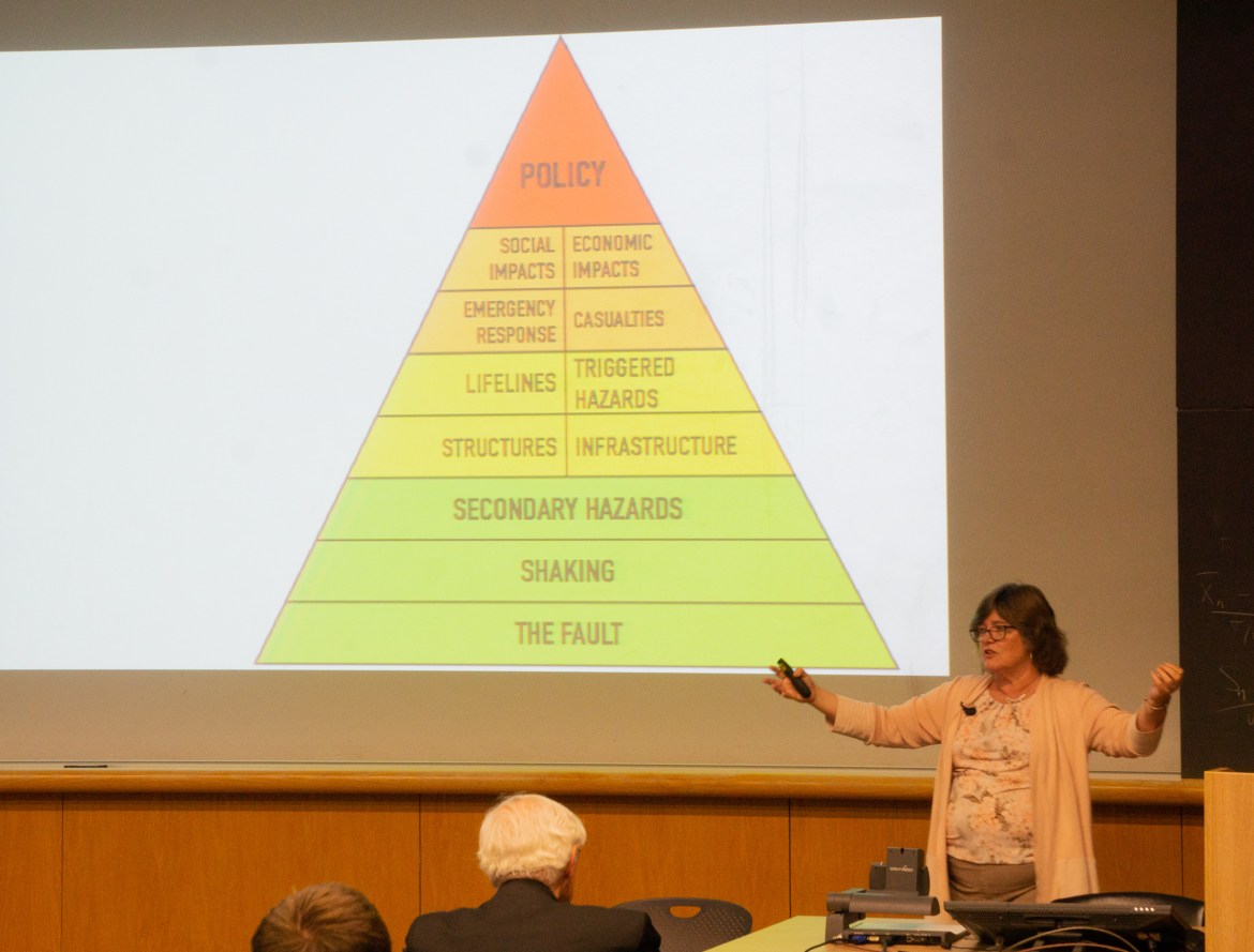 Caltech researcher Dr. Lucy Jones lectures on natural disaster resilience.