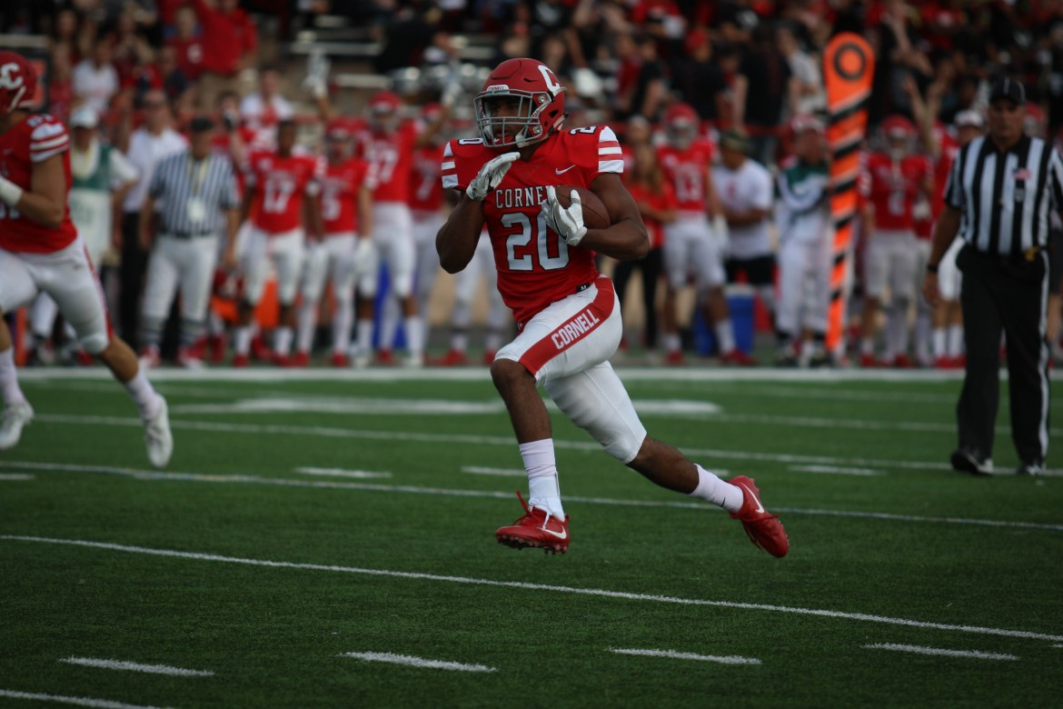 Running back Harold Coles, pictured above in last year's win over Brown, recorded over 100 rushing yards for the fourth time in his career on Saturday.