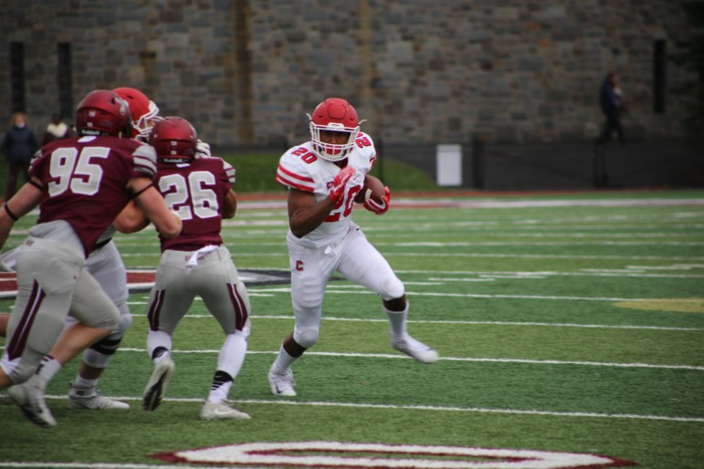 The Red's running game couldn't get going against the staunch Colgate defense last week.