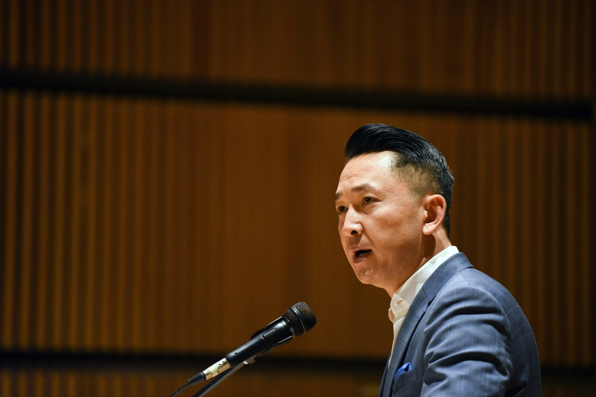 Viet Thanh Nguyen spoke at Goldwin Smith Hall on the refugee experience.