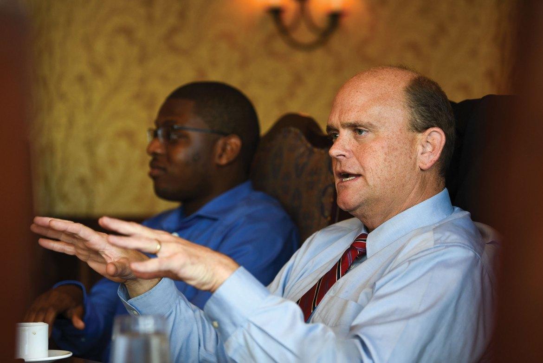 Representative Tom Reed address Cornell Republicans at a Taverna Banfi lunch.