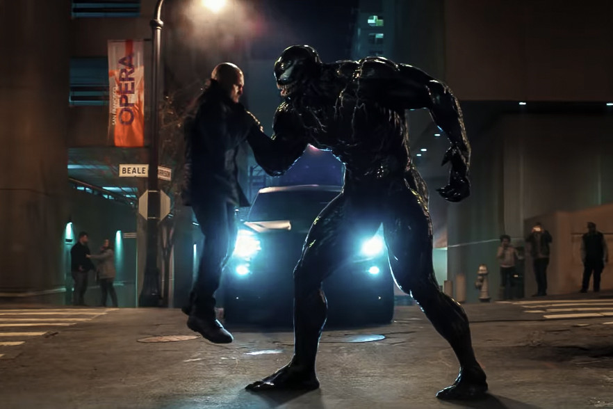 Venom (Tom Hardy) in the Venom film, directed by Ruben Fleischer.