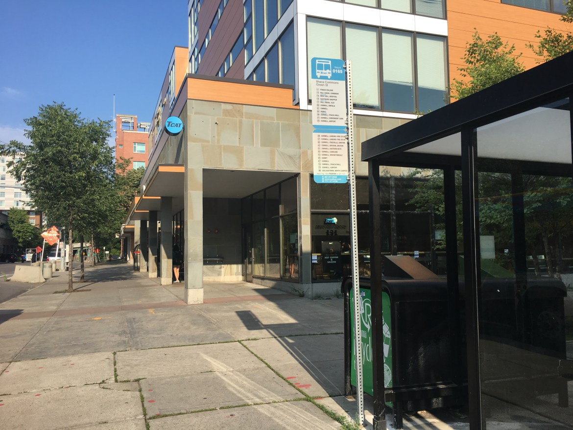 Ithaca Bus Terminal relocated to the Urban Outfitters space at 131 E. Green St. in September.