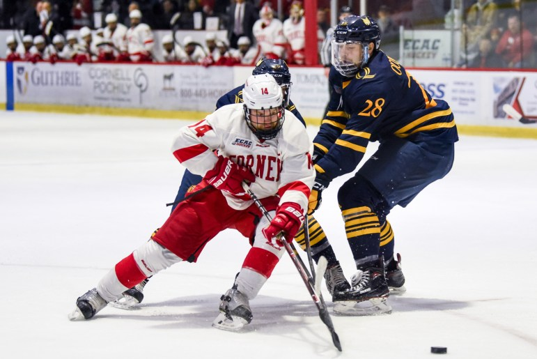 Cornell was drastically shorthanded Friday, down four skaters to injury and another to ejection.