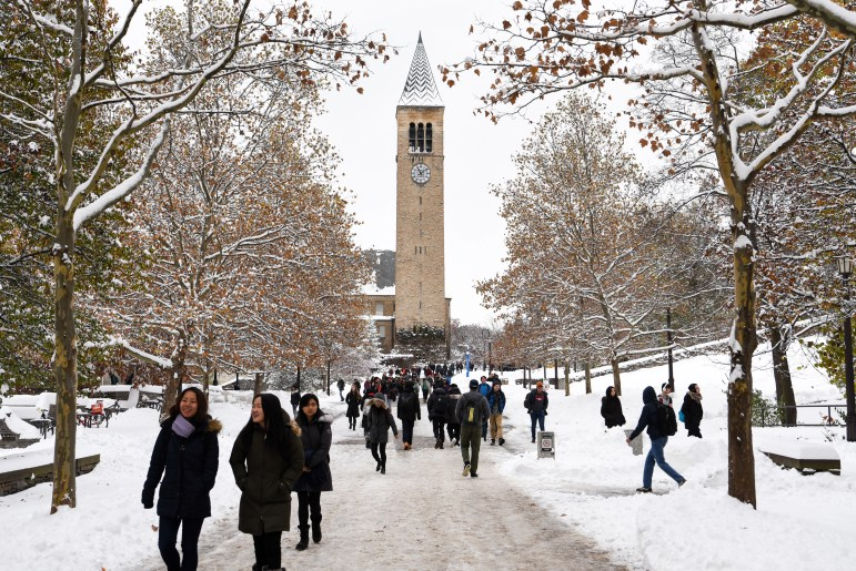 Despite many students' hopes for a snow day, classes continued as usual on Friday after a winter storm Thursday night. (Boris Tsang / Sun Assistant Photography Editor)