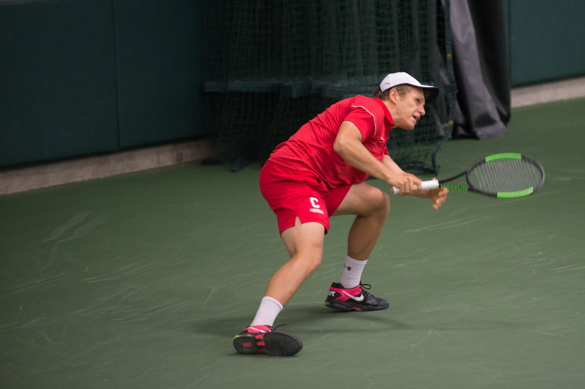 Senior David Volfson upset two opponents before losing to the top-ranked player in the round of 16 at this weekend's Intercollegiate Tennis Association National Fall Championship.