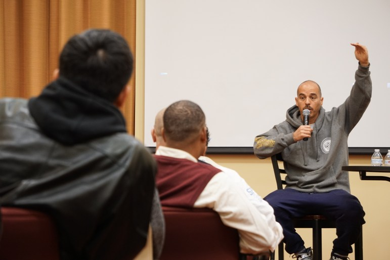 Hip-hop legend Bobbito García presented a self-directed autobiographical film at the Africana Research Center on Tuesday. (Michelle Yang / Sun Staff Photographer)