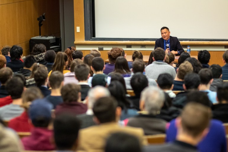 Despite the dropping temperatures and light snow, more than 120 students gathered on Wednesday evening to listen to Chinese dissident Wang Dan.