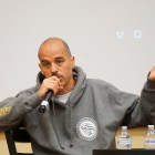 Hip-hop icon Bobbito García speaks at  the screening of Rock Rubbers 45s Tuesday.