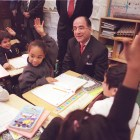 Harold O. Levy '74 visits Public School 189, a school he attended, on his first day serving as interim New York City Schools chancellor in January of 2000.