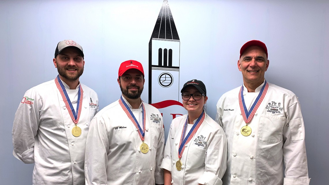 A team of Cornell Dining chefs crafted culinary delights, placing first in this year's American Culinary Federation Competition.
