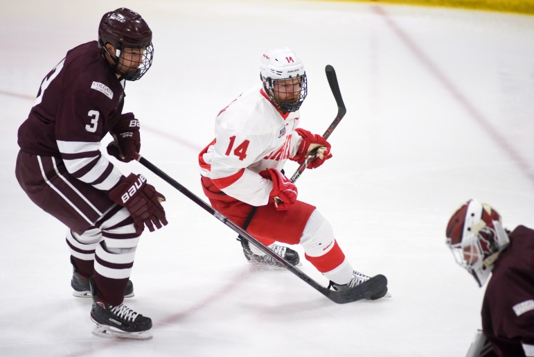 Captain Mitch Vanderlaan's first-period goal gave the Red an early lead in a 3-2 win over Colgate.