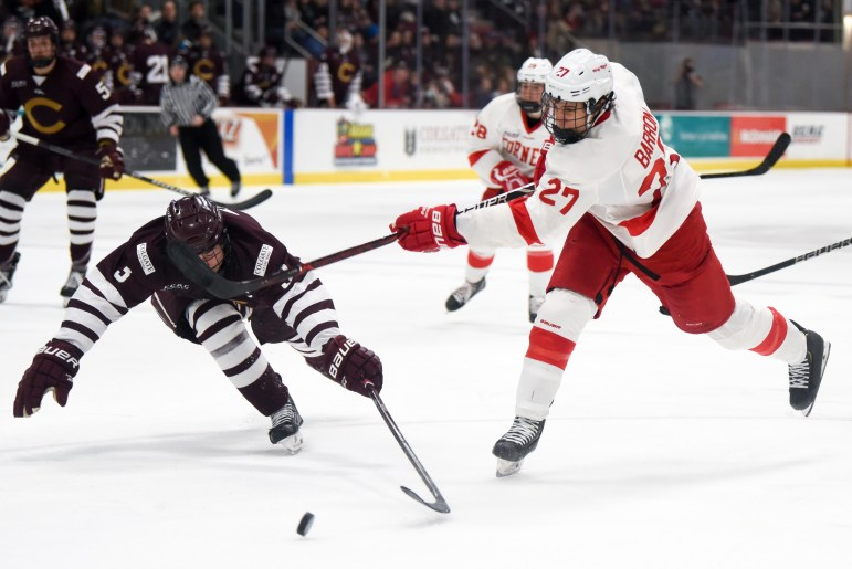 The all-sophomore top line of Morgan Barron, Brenden Locke and Cam Donaldson was held scoreless in Cornell's win.