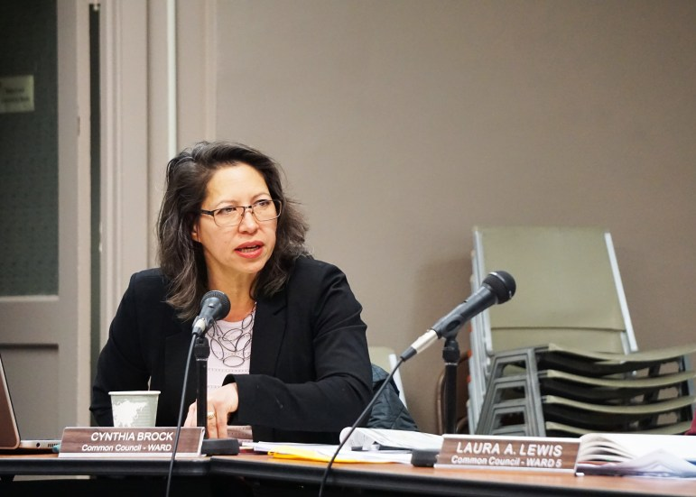 Cynthia Brock, 1st Ward Alderperson, speaks at the Ithaca Planning & Economic Development Committee's meeting on Monday. (Yisu Zheng / Sun Staff Photographer)