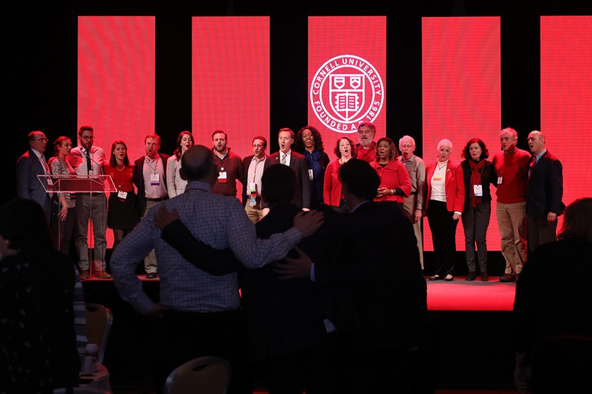 "Alumni sing the alma mater at 2018's Cornell Alumni Leadership Conference. An alumnus apologized over the weekend for referring to a Hall of Fame baseball player as a ""Negro"" at this year's conference."
