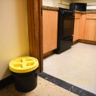 Compost bin in Risley Hall kitchen.
