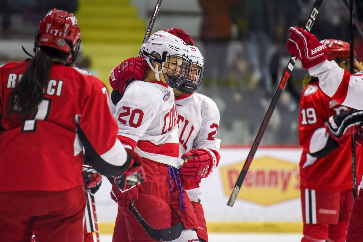 Cornell scored 12 total goals — and allowed zero — in dominant wins over Union and RPI.