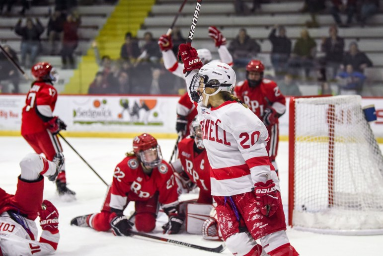 Kristin O'Neill (20, above) scored her 50th career goal and hat a hat trick in Cornell's win over RPI.