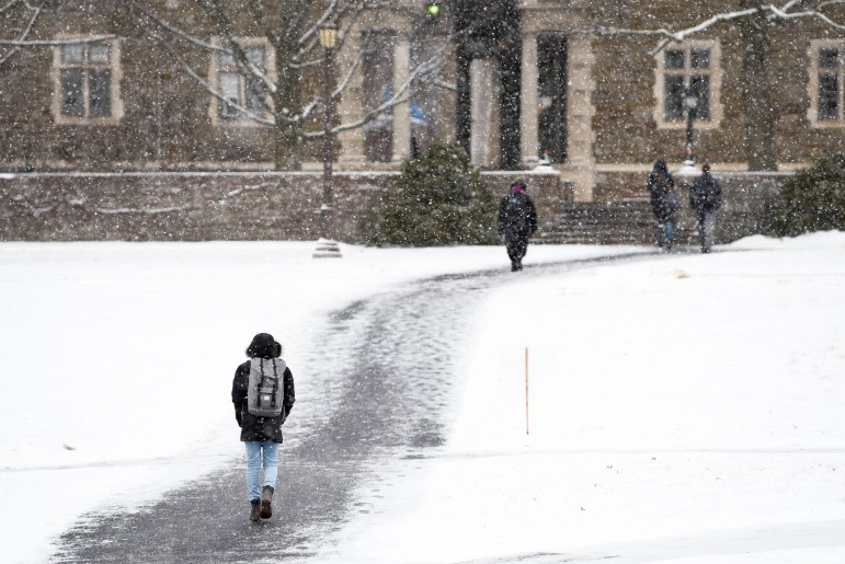 Balch Hall in the snow.