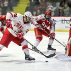 RPI goaltender Owen Savory prevented Cornell from scoring a third goal in the Red's 3-2 loss.