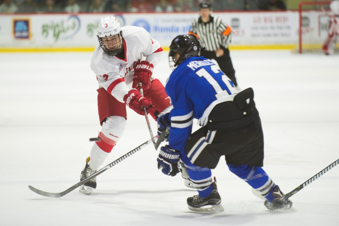 Cody Haiskanen, pictured above playing against Alabama-Huntsville last season, ends his sophomore campaign with one goal and five assists while seeing additional responsibilities and ice time.