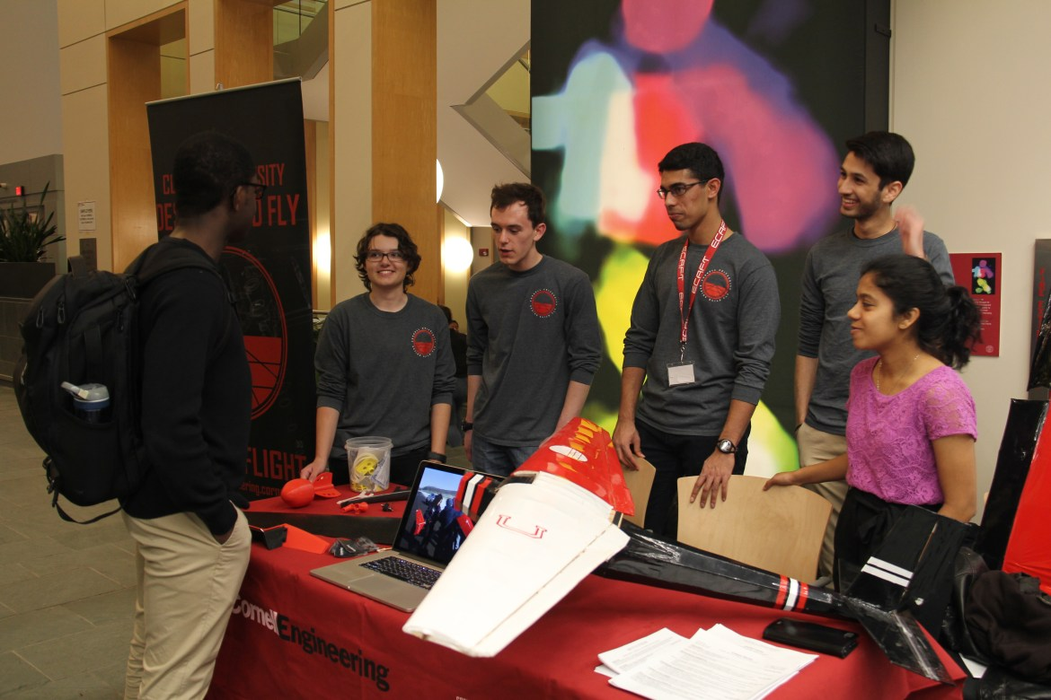 Members of Cornell Design Build Fly share their projects at Engineering Showcase.