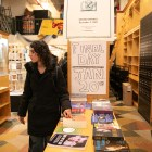 A customer at the Drama Book Shop in Manhattan, Jan. 18, 2019. As the beloved store's shelves approached emptiness before it relocates, it brought in the playwrights Annie Baker and Amy Herzog for a reading. (Jeenah Moon/The New York Times)