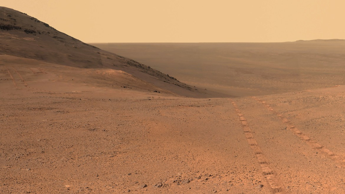 A panoramic view of Perseverance Valley on Mars, captured by the Opportunity rover a year before it was engulfed in the dust storm that ended its mission.