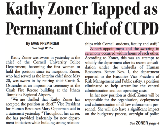Kathy Zoner was sworn in as police chief in November of 2009 just hours after being appointed, The Sun reported at the time.