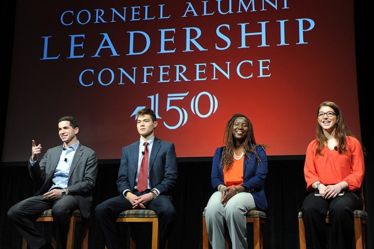 A student panel speaks during the Cornell Alumni Leadership Conference in 2015 during the University's sesquicentennial.