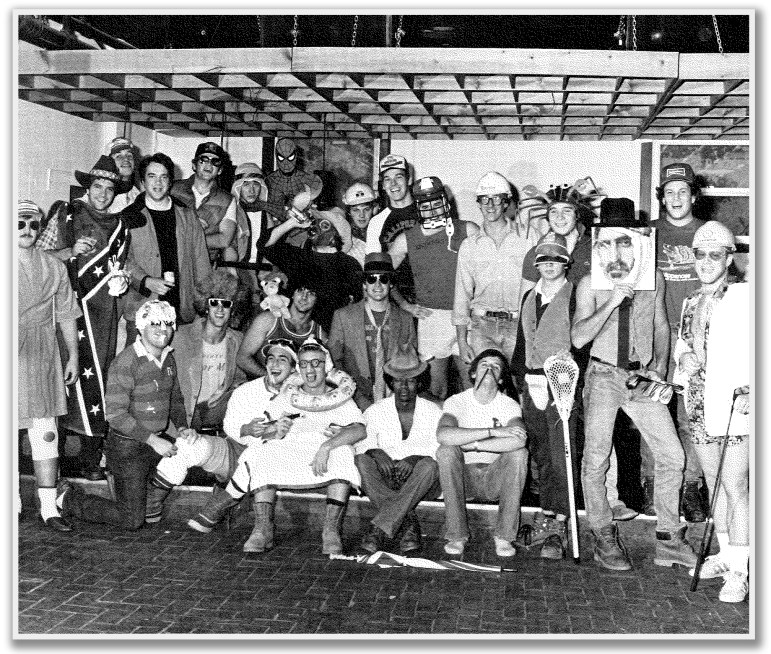 "The Phi Gamma Delta fraternity appears in this photograph from the 1982 edition of The Cornellian, dressed in costume and alongside quoted nicknames such as ""Hitleryouth."""