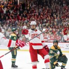 Jeff Malott celebrates a goal against Clarkson in Cornell's 5-0 victory Feb. 8.