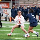 Women's lacrosse fell behind in the first half of its game at Columbia, but came back from behind to secure a victory.