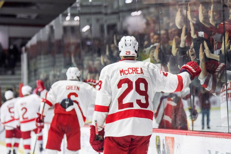 Five seniors played their last games at Lynah Sunday afternoon —Alec McCrea included.