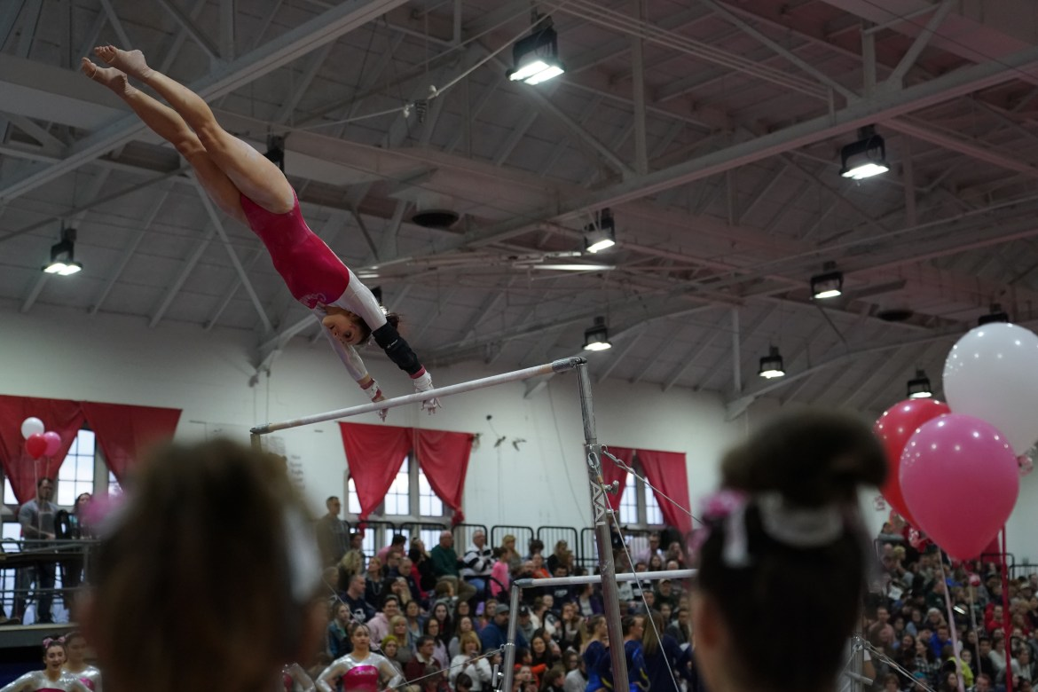 The Red's gymnasts rose to the occasion against powerhouse opponents ASU and Penn State.
