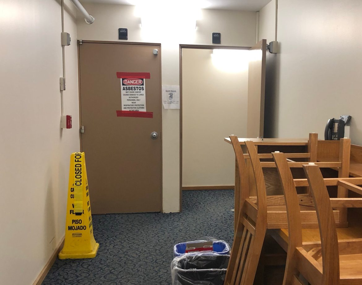 During the clean-up process following a sprinkler malfunction, Cornell personnel found potential asbestos particles in one of the suites.