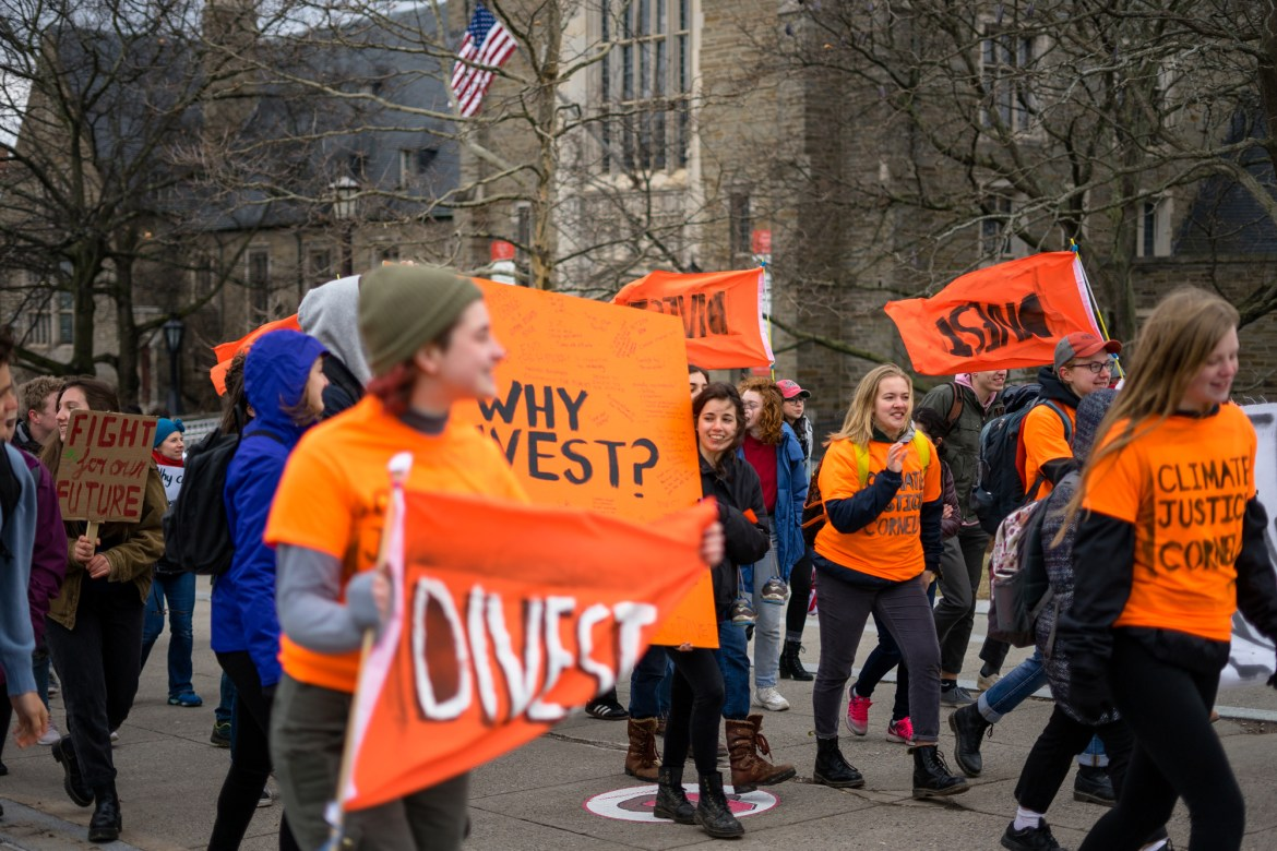Cornell students advocated for fossil fuel divestment at a rally on Friday.