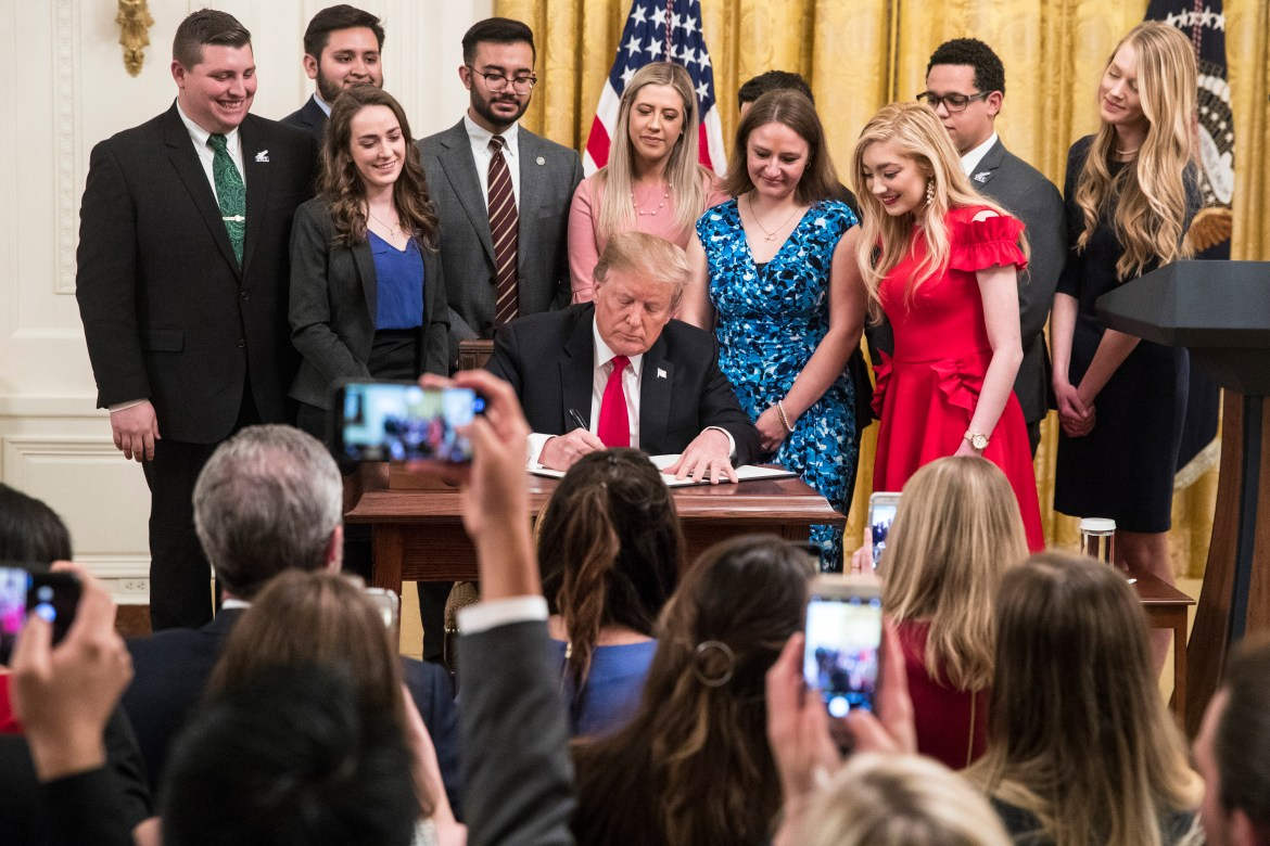"President Donald J. Trump signed an executive order on March 21st directing federal agencies to withhold grants and funding for public universities that fail to enforce the right to ""free inquiry."""