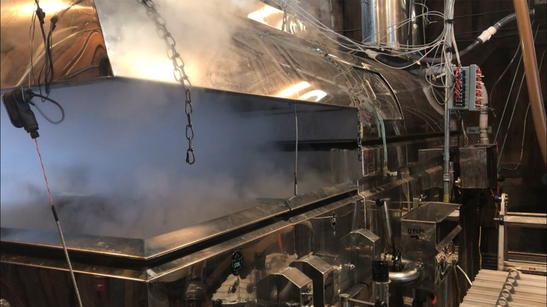 Evaporator in Arnot Sugarhouse boils the sap